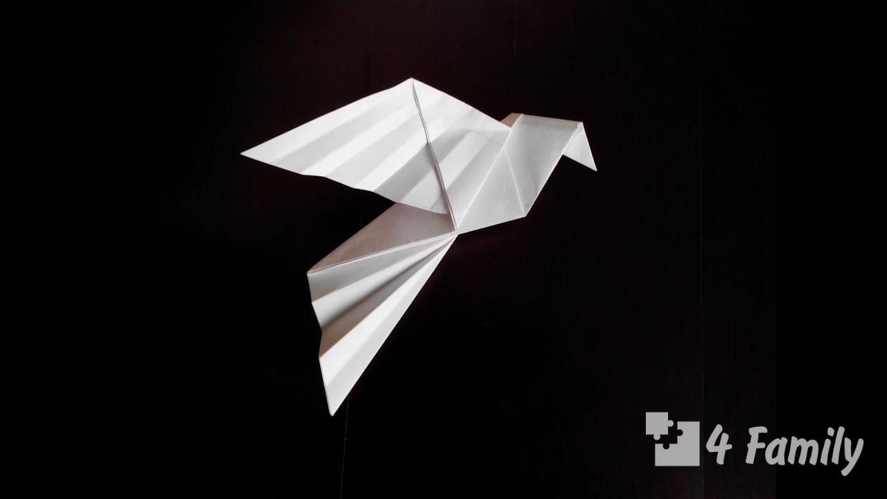 Лайфхак, как сложить белого голубя оригами