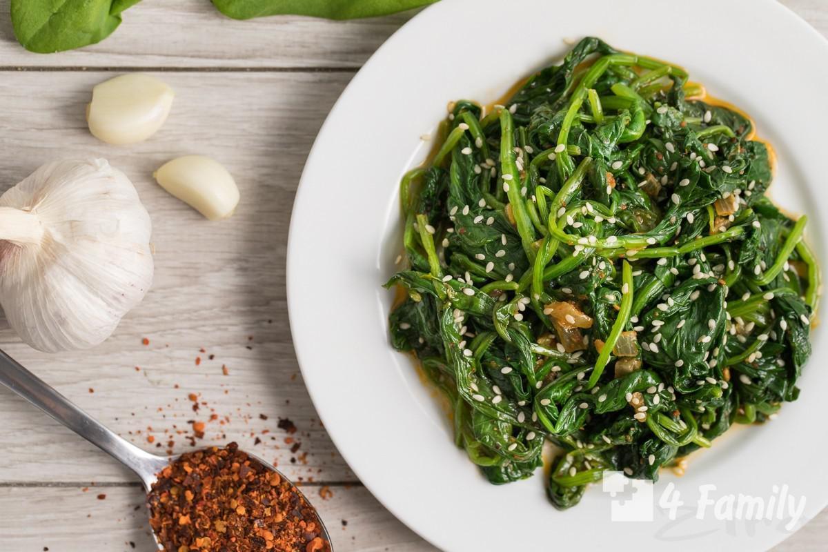Как приготовить салат из шпината по-корейски