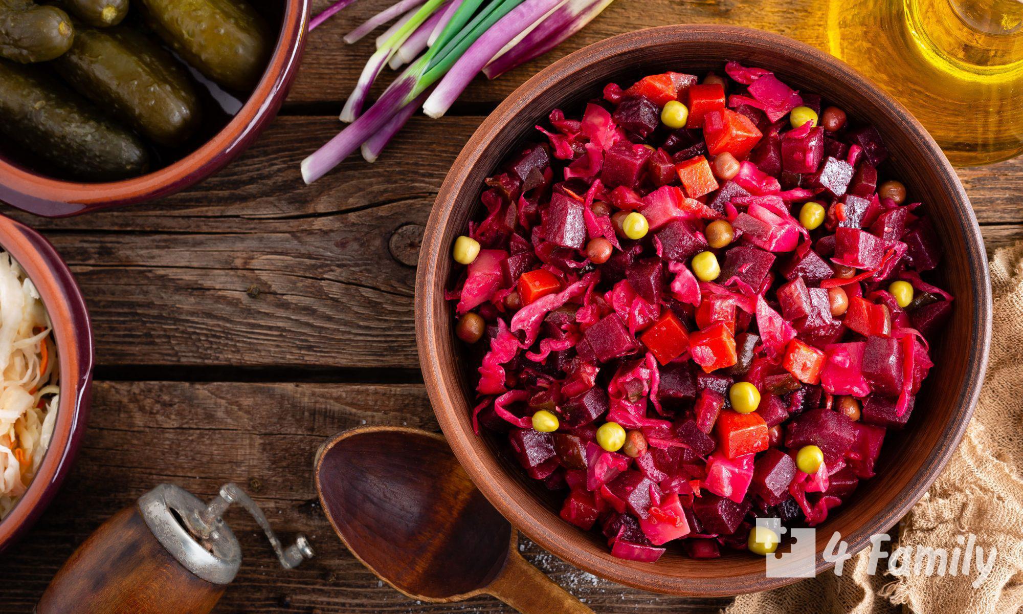 Фото. Как приготовить винегрет с фасолью