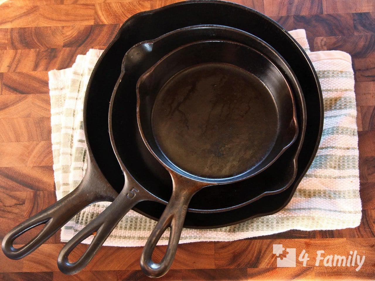 Как очистить чугунную сковороду от нагара в домашних условиях