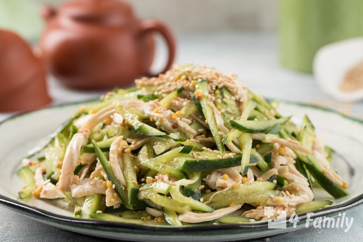 4family Как приготовить салат с курицей и огурцом