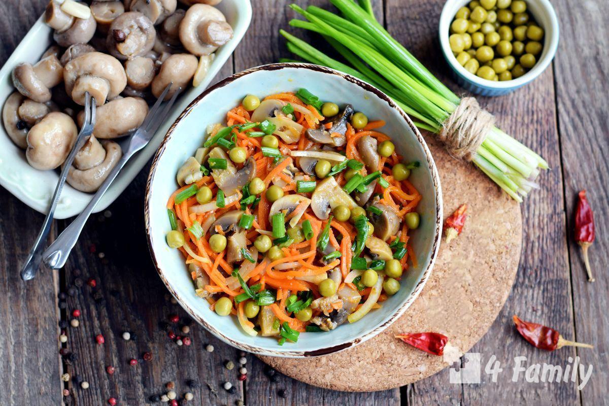 4family Как приготовить салат с консервированными шампиньонами