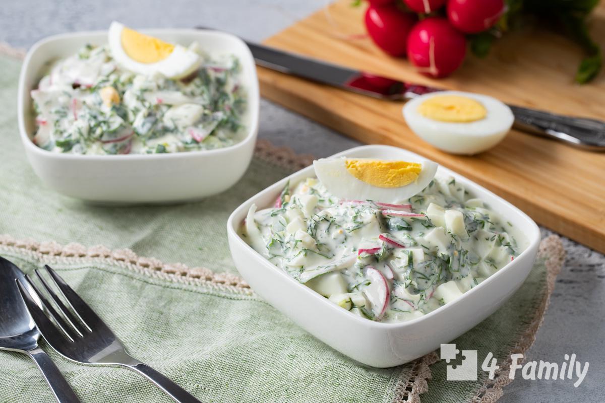 Как сделать салат из редиса с яйцом и зеленым луком